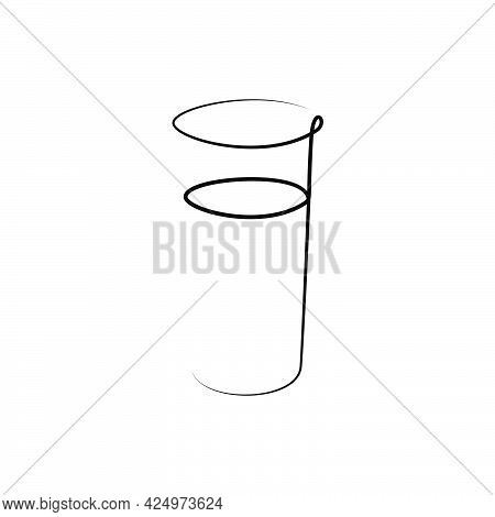 Rum Wineglass With A Beverage On White Background. Graphic Arts Sketch Design. Black One Line Drawin