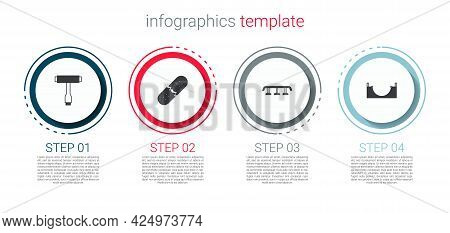 Set Skateboard T Tool, Broken Skateboard Deck, Stairs With Rail And Park. Business Infographic Templ