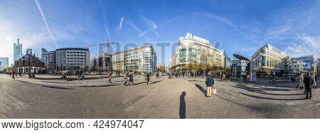 Frankfurt, Germany - November 21, 2020: Skyline Of Frankfurt At Zeil, The Downtown Shopping Area.
