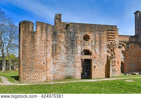 Part Of Ruin Of Historic Limburg Abbey In Palatinate Forest In Germany