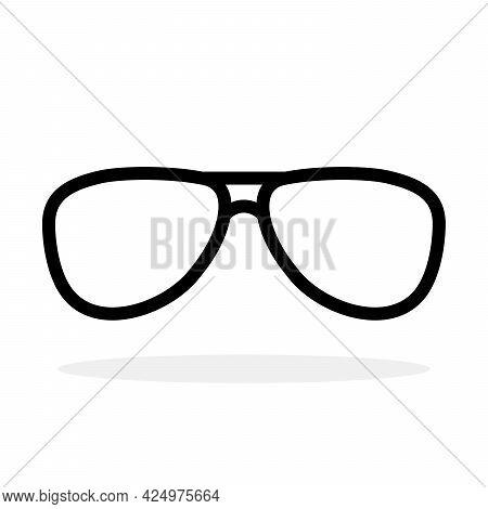 Glasses Icon. Sung Lasses Icon. Vector Illustration. Sung Lasses Vector Icon. Black Linear Glasses I