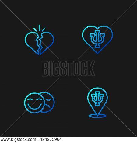 Set Line Psychology, Psi, Comedy And Tragedy Masks, Broken Heart Or Divorce And . Gradient Color Ico