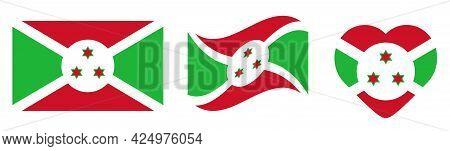 Burundi National Flag Vector Design Template,  Vector Illustration.