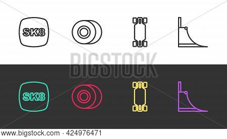 Set Line Skateboard, Wheel, Longboard Or Skateboard And Park On Black And White. Vector