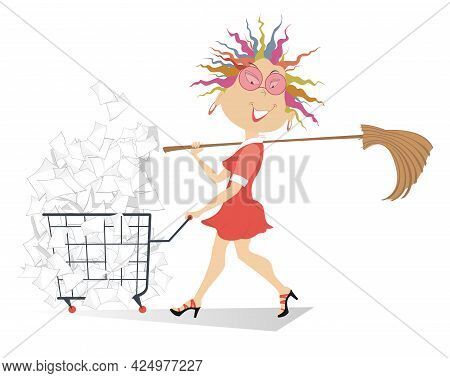 Cartoon Young Woman With A Trolley Full Of Papers Illustration. Cheerfulness Woman With A Big Broom