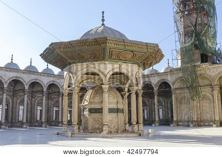 Courtyard of the Great Mosque of Muhammad Ali in Cairo, Egypt