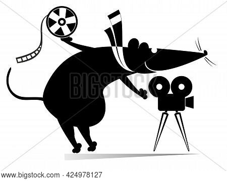 Cartoon Rat Or Mouse, Movie Projector, Tape Illustration. Funny Rat Or Mouse Stands Near The Movie P