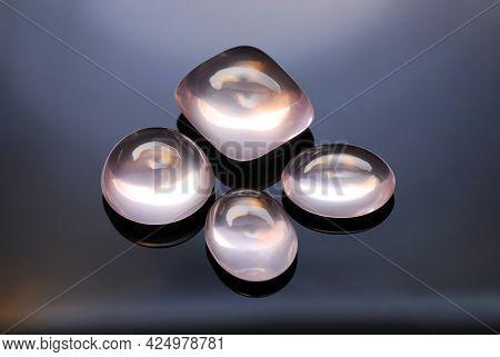 Natural Transparent Pink Rose Quartz Cabochons Semiprecious Gemstones Set Lot. Settings For Jewelry