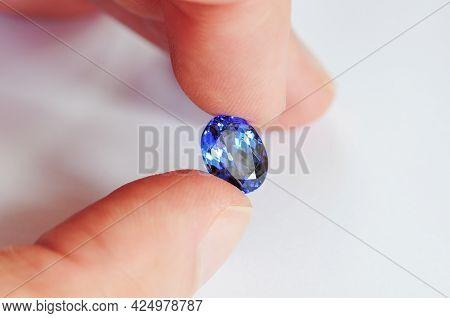 Natural Royal Blue, Indigo, Violet, Purple Colour Tanzanite Oval Shaped, Faceted, Loose Transparent,