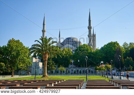 Bright Summer Day The Blue Mosque View At Sultanahmet Square In Istanbul City. Turkey , Istanbul - 2