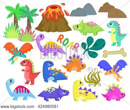A Set Of Cute Baby Dinosaurs With Plants, Rocks And Volcano For Scene Making Projects.
