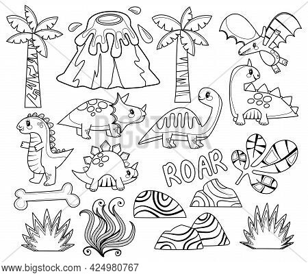 A Set Of Dinosaur Scene Making And Coloring Page Elements.