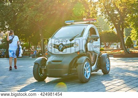 Police Electric Car Patrolling Sultanahmet Square In Istanbul. Turkey , Istanbul - 21.07.2020