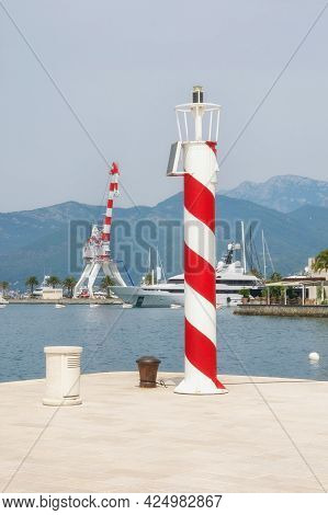 Port. Montenegro. View Of Yacht Marina Of Porto Montenegro From Embankment Of Tivat City. Red And Wh