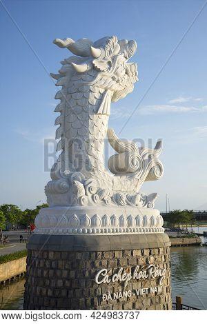 Da Nang, Vietnam - January 06, 2016: River Dragon Sculpture Close-up