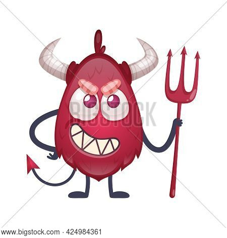 Cartoon Red Devil Character With Horns And Tail Holding Trident Vector Illustration