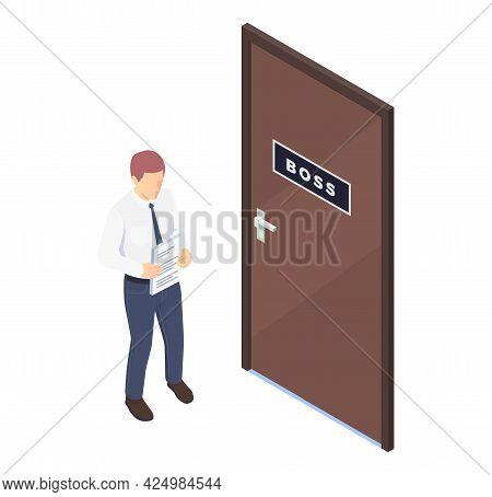 Worried Office Worker Standing Near His Boss Office Door Isometric Vector Illustration
