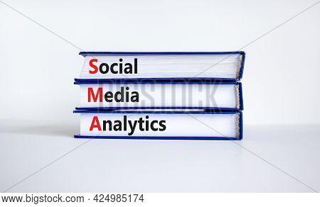 Sma Social Media Analytics Symbol. Books With Word 'sma Social Media Analytics' On Beautiful White B