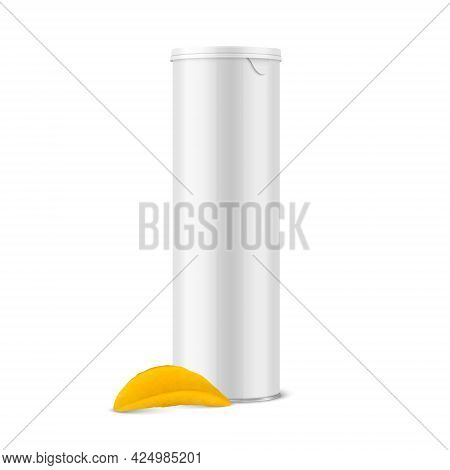 Vector 3d Realistic Blank Glossy White Metal Tin Can, Canned Food, Potato Chips Packaging With Lid,