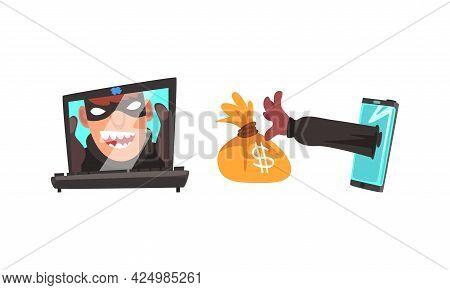 Hacker In Mask Stealing Money Using Laptop Vector Set