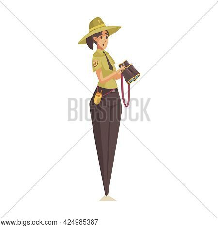 Worried Woman Forest Ranger With Binoculars On White Background Cartoon Vector Illustration