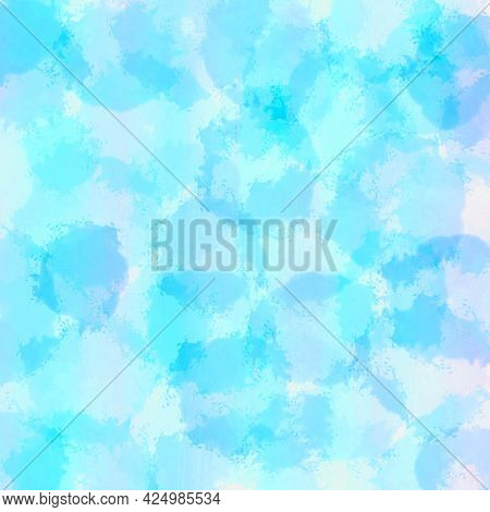 Abstract Blue Watercolor Background, Hand-painted Textures With Paint, Circles, Spots, Splashes.