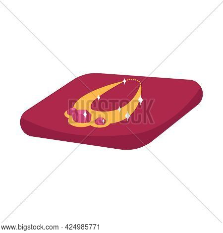 Expensive Golden Necklace On Red Velvet Pillow Flat Icon Vector Illustration