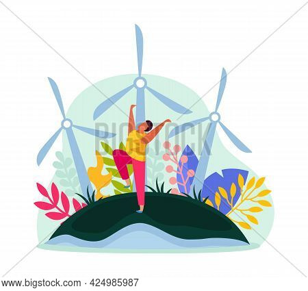 Ecology And Alternative Source Of Energy Icon With Windmills And Flat Happy Character Vector Illustr