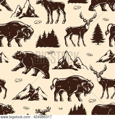 National Park Vintage Seamless Pattern With Deer Bear Moose American Bison Trees And Mountains In Mo