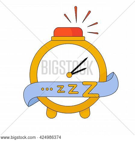 Vector Stock Illustration Of A Yellow Alarm Clock. Time. Table Clock With Hands. Night Time 14: 05 .