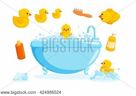 Duck And Bath With Combs And Foam. Bathing Set With Tub, Cosmetics, Yellow Rubber Ducks Isolated In