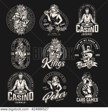 Casino And Card Game Vintage Emblems With Croupier Gamble Skull Hand With Burning Ace Of Spades Skel