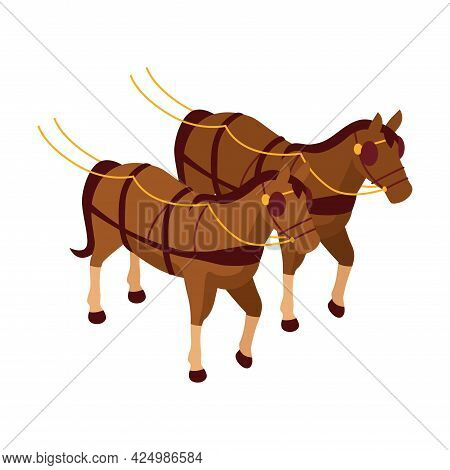 Victorian Era Icon With Two Horses For Pulling Carriage Isometric Vector Illustration