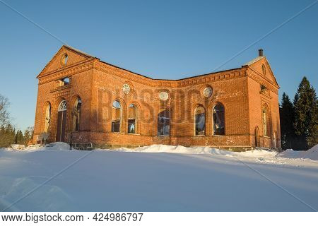 Lakhdenpohya, Russia - March 10, 2021: Ruins Of The Old Church Of Jaakkimaa On A Frosty March Mornin