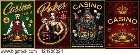 Casino Vintage Colorful Posters With Smiling Croupier Roulette Wheel Poker Chips Crown Pretty Woman