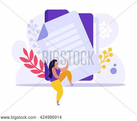 Flat Employment Document Icon With Colorful Character Folder And Paper Vector Illustration