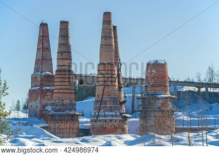 Ruins Of Lime Kilns On The Old Marble And Lime Factory On March Afternoon. Ruskeala, Karelia