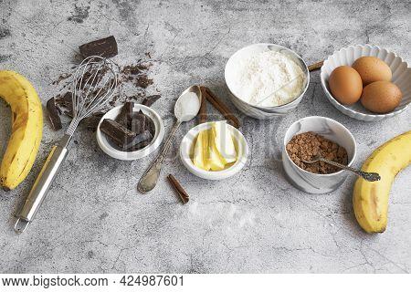Ingredients For Making Banana Bread. Sweet Homemade Dessert Item, Bakery Themes