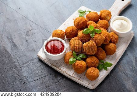 Meat Free Vegetarian Mini Picnic Scotch Eggs With Micoprotein And Herbs Served With Ketchup And Mayo