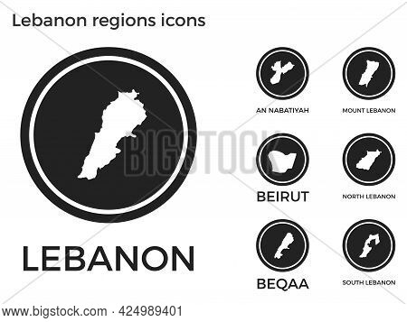 Lebanon Regions Icons. Black Round Logos With Country Regions Maps And Titles. Vector Illustration.
