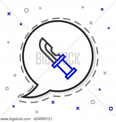 Line Hunter Knife Icon Isolated On White Background. Army Knife. Colorful Outline Concept. Vector