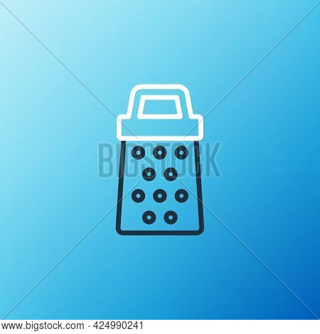 Line Grater Icon Isolated On Blue Background. Kitchen Symbol. Cooking Utensil. Cutlery Sign. Colorfu