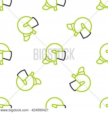 Line Police Helmet Icon Isolated Seamless Pattern On White Background. Military Helmet. Vector