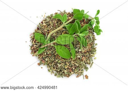 Oregano Or Marjoram Leaves Fresh And Dry Isolated On White Background With Clipping Path. Top View.