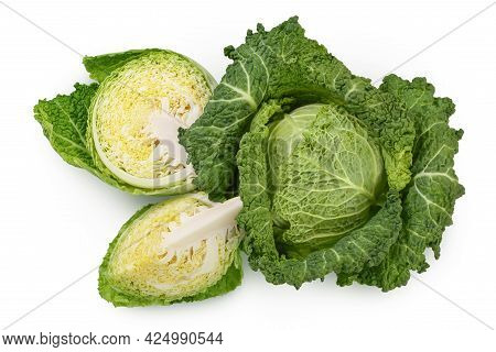Savoy Cabbage With Half Isolated On White Background With Clipping Path And Full Depth Of Field. Top