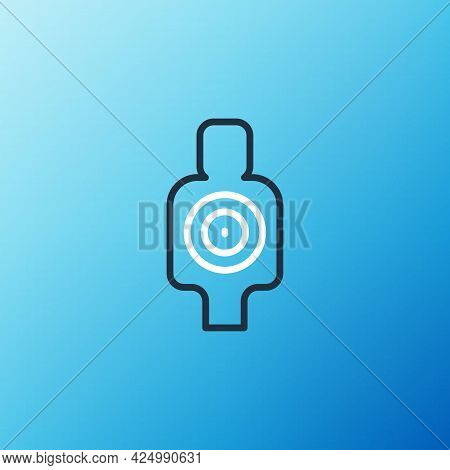 Line Human Target Sport For Shooting Icon Isolated On Blue Background. Clean Target With Numbers For