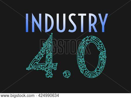Illustrations Of Writing And Industry Numbers 4.0. Industry Concept