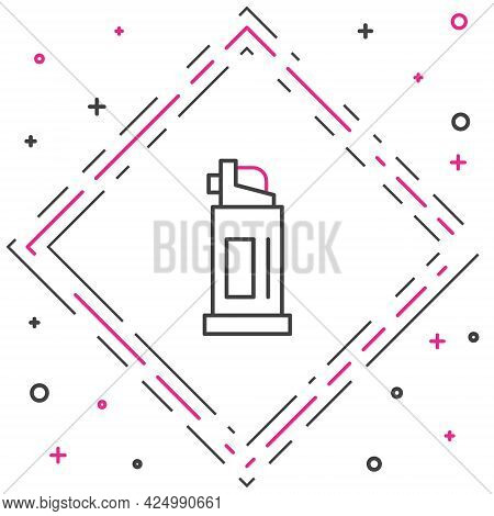 Line Pepper Spray Icon Isolated On White Background. Oc Gas. Capsicum Self Defense Aerosol. Colorful
