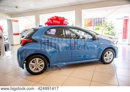 Uzhhorod, Ukraine. January 18, 2021 Blue Car Hybrid Of The Japanese Brand Toyota Yaris Hybrid. Relia