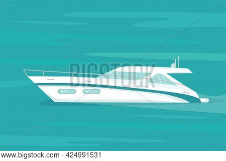 Modern Speed Yacht In Ocean, Sea. Summer Vacation Seaside Concept. Vector Stock Illustration For Adv